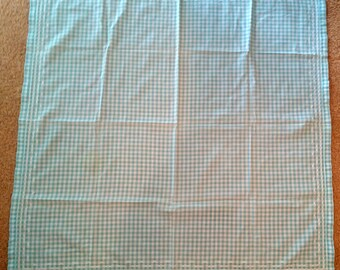 Vintage Light Blue Gingham Table Cloth with Hand Embroidered edges