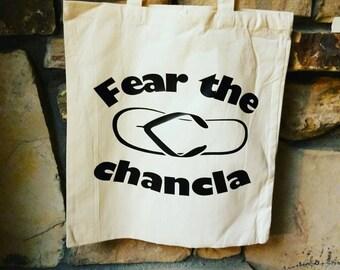 "Fear the Chancla 16"" Large Cotton Canvas Tote Bag"