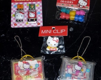 Vintage Sanrio 1990s Hello Kitty Mini Paper Clips Erasers and Stickers