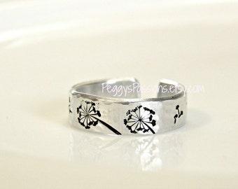 Dandelion ring. Handmade, hammered finish ring.