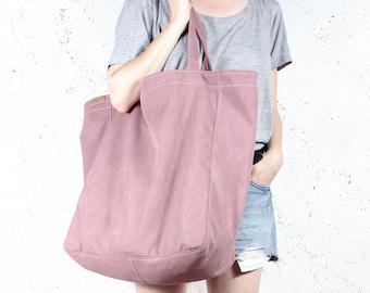 Big Lazy bag pink shoulder rouge tote zipped up pockets oversized extra large beach bag school market everyday handbag vegan organic cotton