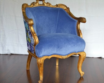 Gilded Antique French Upholstered Accent Chair