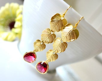 Gold Cascading Leaves With Fuchsia Glass Drop Earrings. Triple Gold Leaves Red Chandelier Earrings. Gold Leaf Fuchsia Drop Bridal Earrings.