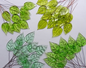 Sale Vintage French 1930s Hand Made Transparent Green Glass Leaves With Copper Wire Stems For Millinery, Bridal, Jewelry & Embellishment
