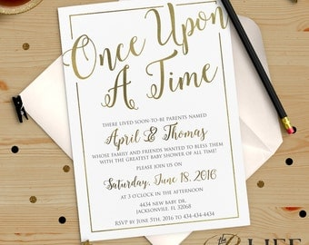 once upon a time baby shower invitation printable diy no i274