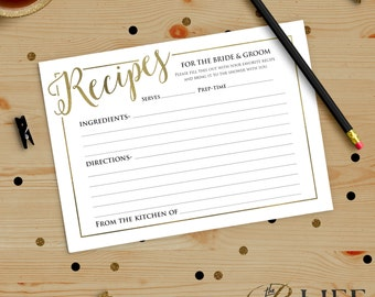 Once upon A Time Bridal Shower Recipe Card Printable DIY No. I274