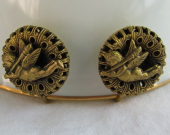 Unique and Beautiful Flying Cupid Brass Filigree Button Earrings, 1940's Era Vintage Screw Backs