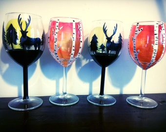 Hand painted wine glasses with birch trees and deer design
