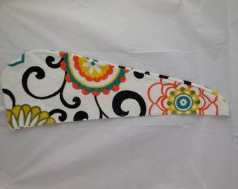 Orange,Black, Yellow Floral Hair Towel Hair Wrap