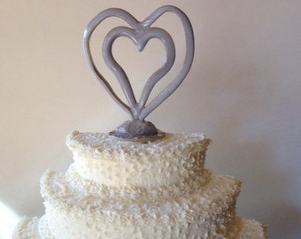 Double Heart Ceramic Cake Topper