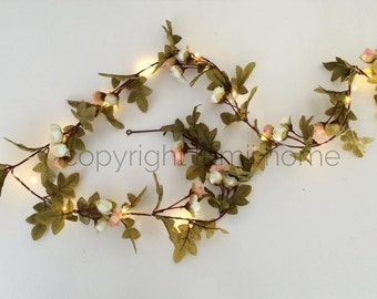 String light Pink and cream rose leaf garland Led fairy lights vintage woodland wedding decoration enchanted forest