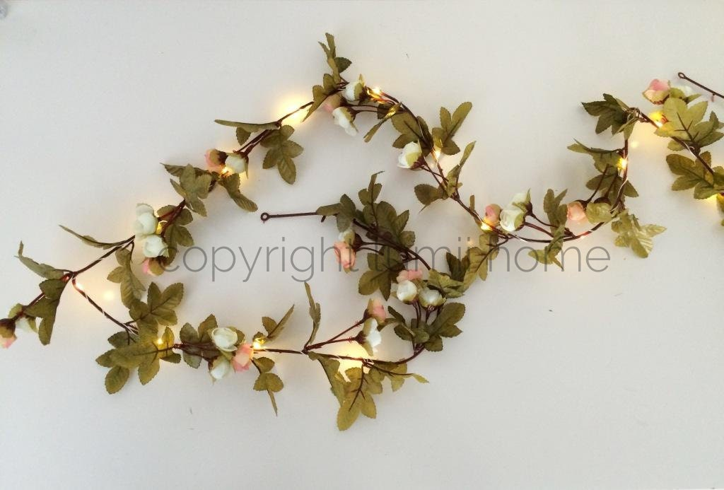 String light Pink and cream rose leaf garland Led fairy lights