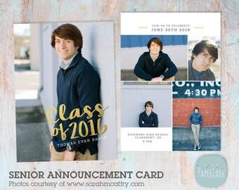 Senior Guys Graduation Announcement Card - Photoshop Template - AG018 - INSTANT DOWNLOAD