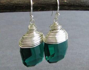 """Emerald Green Swarovski Crystal Briolette Earrings, Wire Wrapped Sterling Silver, Dangle Earrings, May Birthstone, """"Broadway"""""""