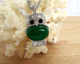 Green Jade Owl Necklace ~  Jade Stone Owl Pendant ~