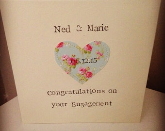 Personalised engagement Card, Rustic, Shabby Chic Card HANDMADE