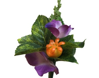 Boutonniere-Berry and Purple Hydrangea with Greenery