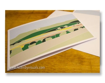 The White Horse, North Yorkshire Greetings Card - Designed by Lazenby Visuals - Replica of limited edition print - Blank inside