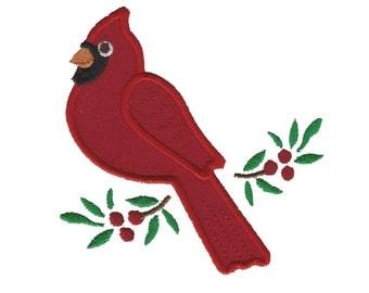 Cardinal & Holly Berries Machine Applique Design
