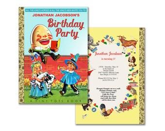 Nursery rhyme birthday invitation / printable Humpty Dumpty invitation / storybook theme birthday / editable PDF / book themed party