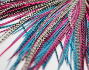 20 Real Feather Hair Extensions : B-Grade Mix #006 + Rings/Loop