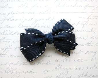 Navy White Stitches Toddlers Hair Clip - Fully Lined Clip - Clip for Fine Hair - Butterfly Hair Bow