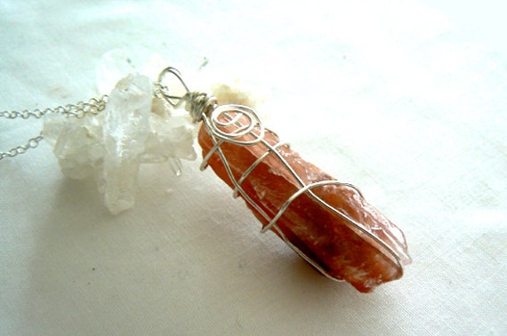 Red Crystal swirl pendant- Silver wrapped pendant- Raw red calcite leather necklace- Fashion energy stone necklace-Women pendant
