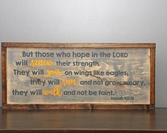 Isaiah 40:31 Wooden Framed Wall Art   Christian Wall Art