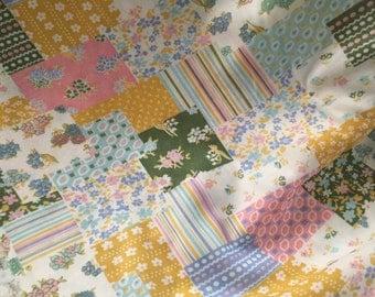 Vintage Faux Quilt Fabric, Pastel Colored Vintage Fabric, Poly-Blend Vintage Fabric