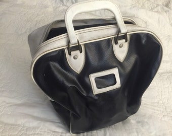 Vintage Black and White Bowling Bag, Vinyl Bowling Bag
