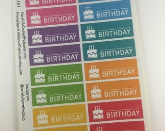 Happy Birthday Planner Stickers, Rainbow Sticker, Cake, Party, Birthday, Erin Condren, Plum Paper, MAMBI, planner accessory