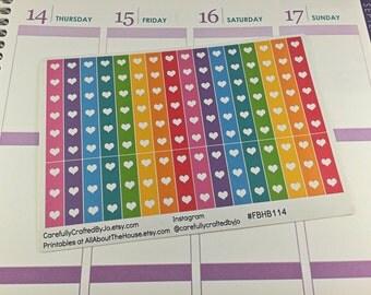 Rainbow Heart Checklist Planner Stickers - Checklist, Tracker, Life Planner, Kikki K, Erin Condren, Plum Paper, MAMBI, planner accessory