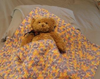 Handmade crochet baby afghan variegated