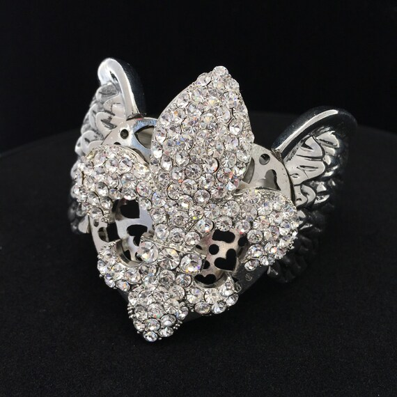 Austrian Crystal Fleur-de-Lis Cuff Stretch Bracelet, with Angel Wings accent
