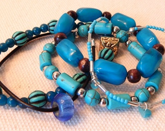 Collection of Mixed Style Blue and Turquoise Bracelets