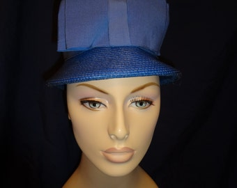 1960s Blue Hat with Bow. Union Made