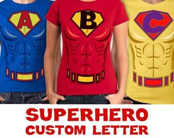 Womens Superhero Custom Letter Costume & Muscle Shirts