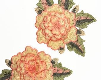 2 pcs Embroidered Peach Rose Flower Patch Applique Motif