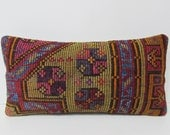 12x24 cotton kilim pillow turkish cushion cover lumbar kilim pillow country pillow cover turkish pillow cover gypsy pillow sham green 26798