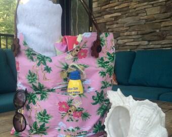 SALE  Pink Hawaiian Beach Bag, Large Tote Bag, Beach Bag