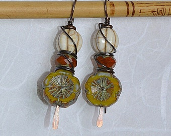 Czech Glass Picasso Flower Earrings, Glass Flower drop earrings, Czech Flower Jewelry, Dangle Drop Earrings, Gifts for Her