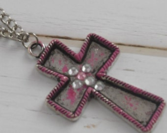 Metal Cross Necklace as Christian Jewelry With Rhinestones