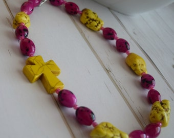 Sideways Cross Necklace With Pink and Yellow Chunky Beads