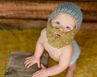 Bearded Beanie -  bearded baby - Halloween baby costume - Bearded Baby hat - baby hat with beard - crochet hat with beard - hat with beard