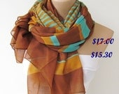 Oversize Terra Cotta Yellow Mint Striped Scarf -Fall Fashion Scarf-Headband-Beach Pareo- Infinity Scarf- Beach Sarong-Long Scarf-New Season