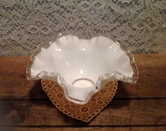 Fenton Milk glass Bowl with Ruffled Edges