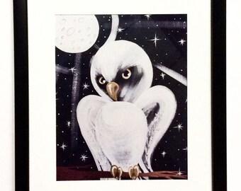 Cosmic White Owl Framed Art Print