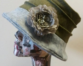 Sage Green and Grey Cloche Hat With Grey Silk Flower and  Cosy Fleece Lining