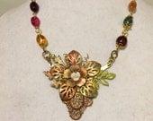 Brass Flower Assemblage necklace/Flower necklace/Vintage necklace, Red, Green, Orange necklace, Gloria allen designs