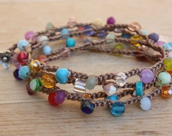 Colorful Crochet Wrap Bracelet& Necklace,Multi Colored, Everyday Jewelry